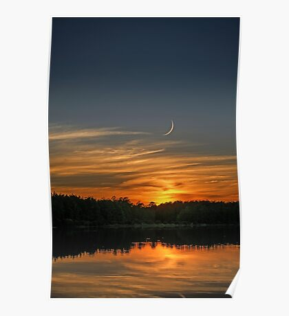 Thumbnail Moon and Sunset at the Lake Poster
