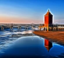 Fantasy Seacsape, textured Lighthouse and reflections by Francesco Malpensi