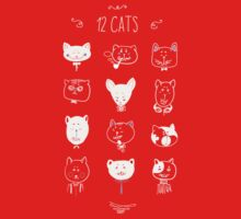 Set of cats heads. Face kitten, whiskers and ears, muzzle and wool. Vector illustration One Piece - Long Sleeve
