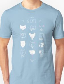 Set of cats heads. Face kitten, whiskers and ears, muzzle and wool. Vector illustration Unisex T-Shirt