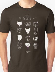 Set of cats heads. Face kitten, whiskers and ears, muzzle and wool. Vector illustration T-Shirt