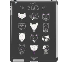 Set of cats heads. Face kitten, whiskers and ears, muzzle and wool. Vector illustration iPad Case/Skin