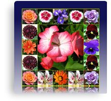 Sunshine and Showers Summer Flowers Collage Canvas Print