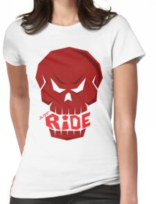 SKULL: JUST RIDE (Red Skull)  Womens Fitted T-Shirt
