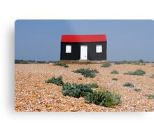 Beach Hut with a Red Roof Metal Print