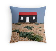 Beach Hut with a Red Roof Throw Pillow