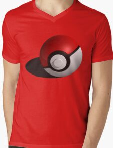 3D Style Pokemon Pokeball Mens V-Neck T-Shirt