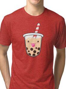 Kawaii Boba Milk Tea (Tapioca Bubble Tea) Tri-blend T-Shirt