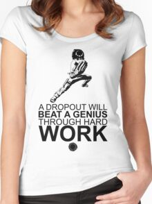 Rock Lee - A Dropout Will Beat A Genius Through Hard Work - Black Women's Fitted Scoop T-Shirt