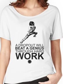 Rock Lee - A Dropout Will Beat A Genius Through Hard Work - Black Women's Relaxed Fit T-Shirt