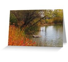 October Day on Sinton Pond (3) Greeting Card