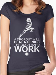 Rock Lee - A Dropout Will Beat A Genius Through Hard Work - White Women's Fitted Scoop T-Shirt