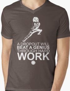 Rock Lee - A Dropout Will Beat A Genius Through Hard Work - White Mens V-Neck T-Shirt