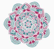 Hot Pink & Teal Mandala Flower Kids Tee