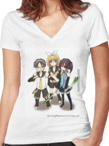 Attack on Titan xx Vocaloid Women's Fitted V-Neck T-Shirt