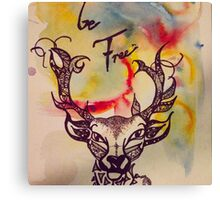 Deer be free, paint on canvas, Christine Hill Canvas Print