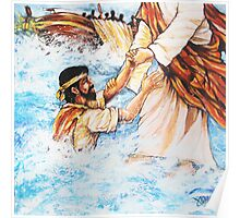 Jesus Walks On The Water Christian Painting Poster
