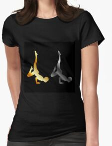 Silhouette of a person in advanced yoga pose  Womens Fitted T-Shirt