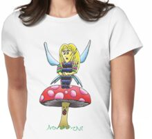 A fairy sitting on a mushroom Womens Fitted T-Shirt