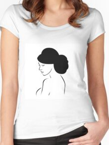 Bride with elegant hairstyle  Women's Fitted Scoop T-Shirt