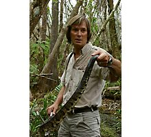 Austin Stevens with water moccasin in Florida Everglades Photographic Print