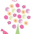 flowering tree greeting card by mareike