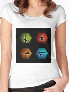 Yoga pilates set on geometric shapes  Women's Fitted Scoop T-Shirt