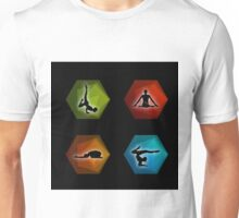Yoga pilates set on geometric shapes  Unisex T-Shirt