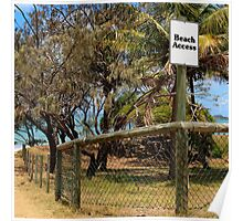 Beach Access Sign and Path Poster