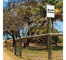 Beach Access Sign and Path Photographic Print
