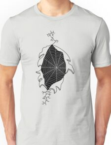 Ripped shirt containing a spiders web T-Shirt