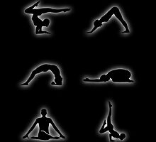 Glowing figures of yoga pose by Shawlin Mohd