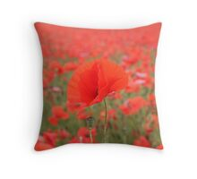 Poppy in poppy field Throw Pillow