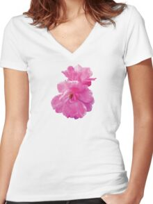 Two Pink Roses in Autumn Women's Fitted V-Neck T-Shirt