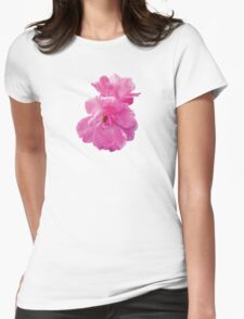 Two Pink Roses in Autumn Womens Fitted T-Shirt