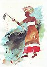 Xhosa Woman hoeing - Ethnic series by Maree Clarkson