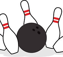 Bowling ball knocking down pins sticker by Mhea