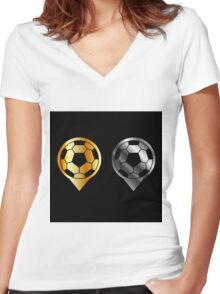 Footballs inside gold and silver placement- football stadium symbol  Women's Fitted V-Neck T-Shirt
