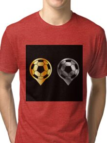 Footballs inside gold and silver placement- football stadium symbol  Tri-blend T-Shirt