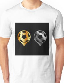 Footballs inside gold and silver placement- football stadium symbol  Unisex T-Shirt