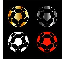 Footballs on black background  Photographic Print