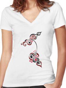 An Elegant Motif Women's Fitted V-Neck T-Shirt