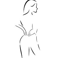 Abstract drawing of a woman massaging her back  by Shawlin Mohd