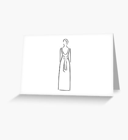 Abstract drawing of a slim woman wearing backless dress  Greeting Card