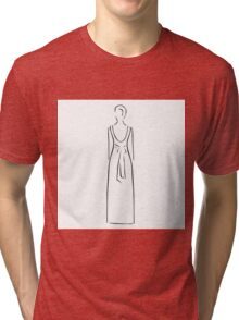 Abstract drawing of a slim woman wearing backless dress  Tri-blend T-Shirt