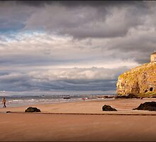 Mussenden Temple at Down hill Beach by Lawrence Perkins