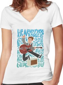 Guitar Heroes - Marty McFly  Women's Fitted V-Neck T-Shirt