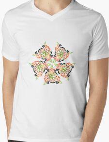 Calligraphic Motif Mens V-Neck T-Shirt