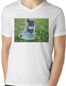 Tea Cup Kitty Mens V-Neck T-Shirt