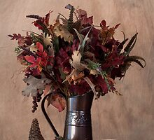Fall Display with Beige Background by Sherry Hallemeier